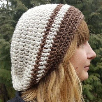 Hand Crochet Slouch Hat ivory brown