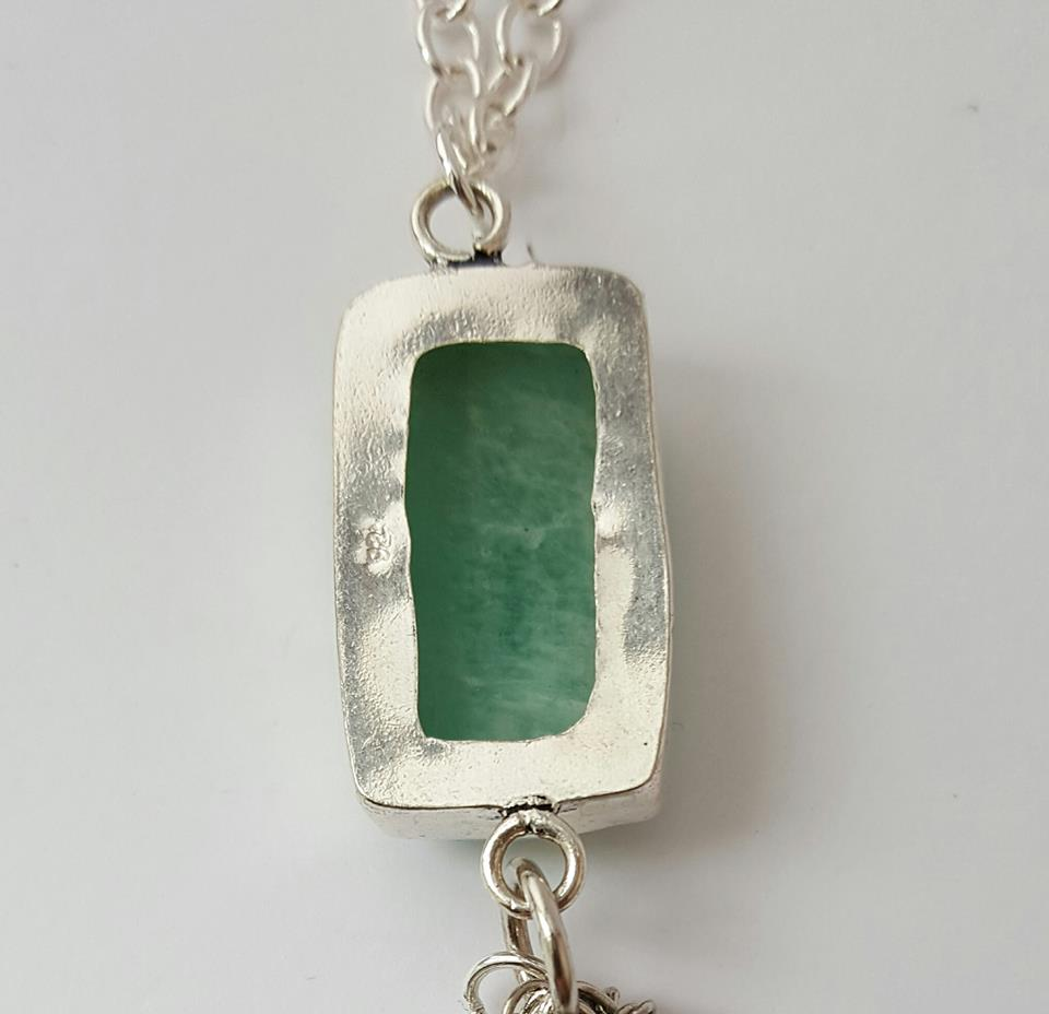 back view Aquamarine Stone Pendant