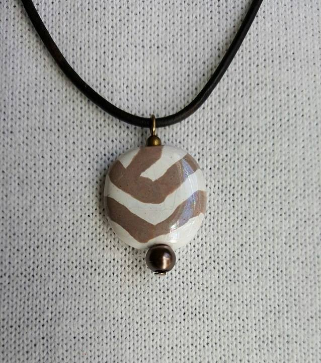 white stripe - kazuri bead necklace