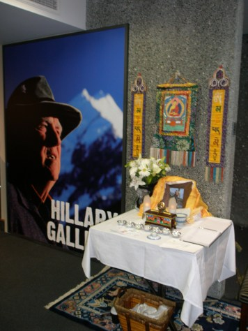 A Nepali shrine honoring Sir Ed. We were able to sign the guest book for the family.