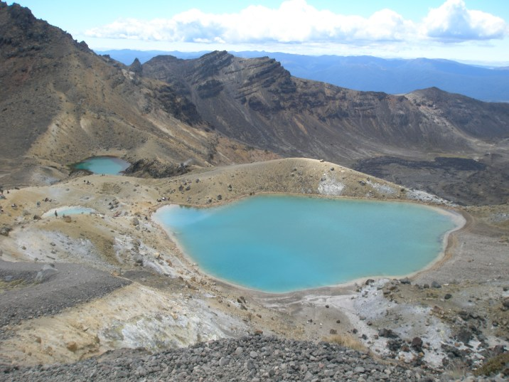 The blue lakes of the The Tongariro Crossing. Don't think of taking a swim - they are highly acidic!