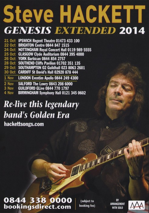Steve Hackett 2014 encore tour flyer