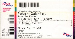 PG 28th Nov 2014 Ticket Birmingham