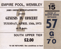 Wembley Pool Ticket (c/o Jeff Kaa and The Genesis Archive)