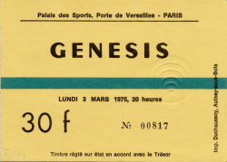 Palais Ticket 1975 (c/o Mino Profumo and The Genesis Archive)