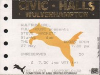 Steve hackett Wulfrun hall 27th May 1993 ticket