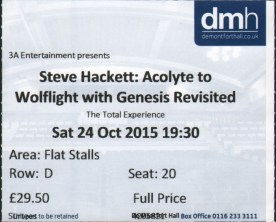 SH Leicester ticket 24th Oct 2015