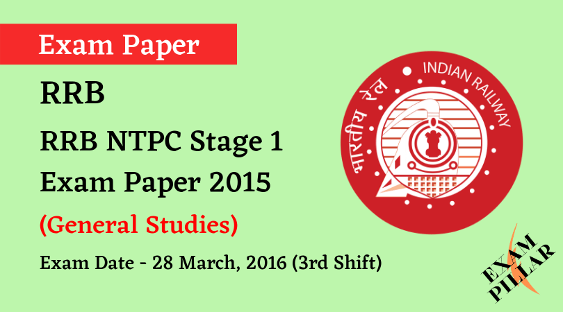 RRB NTPC Stage 1Exam Paper - 28 March 2016 (3rd Shift)