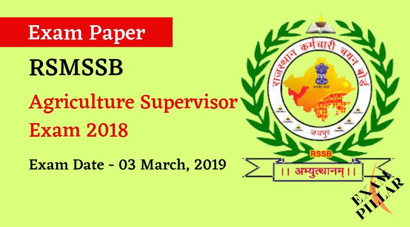Agriculture Supervisor Exam 2019 Answer Key