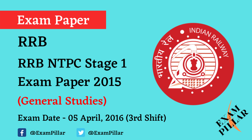 RRB NTPC Stage 1Exam Paper - 05 April 2016 (3rd Shift)