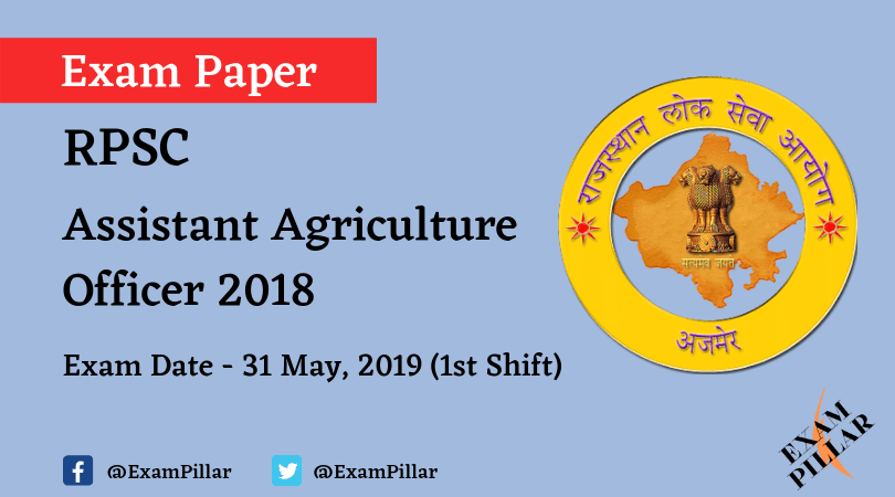 RPSC - Assistant Agriculture Officer 2019 Answer Key