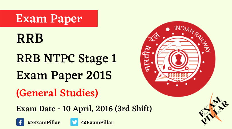 RRB NTPC Stage 1Exam Paper - 10 April 2016 (3rd Shift)
