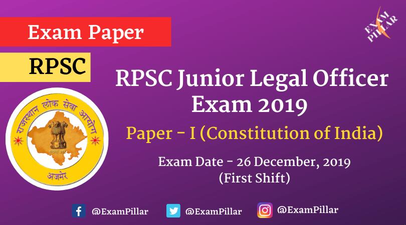 RPSC Junior Legal Officer Exam 2019 Paper - I (Answer Key)