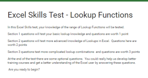 Excel Skills test lookup functions