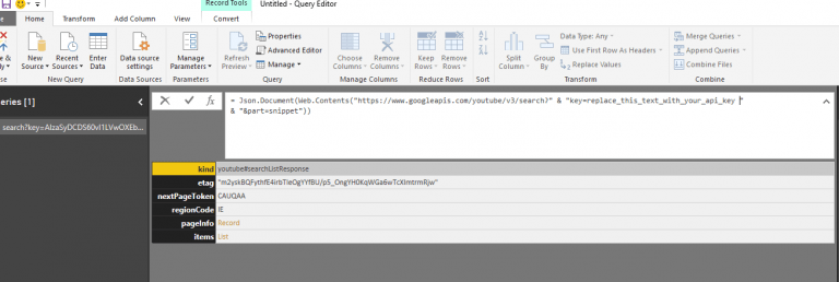 Power BI and Power Pivot Setting up the Advanced Web query to get data from the API