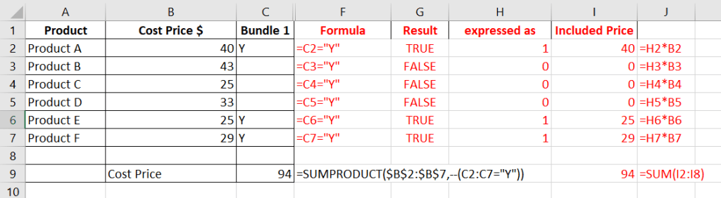 sumproduct in excel