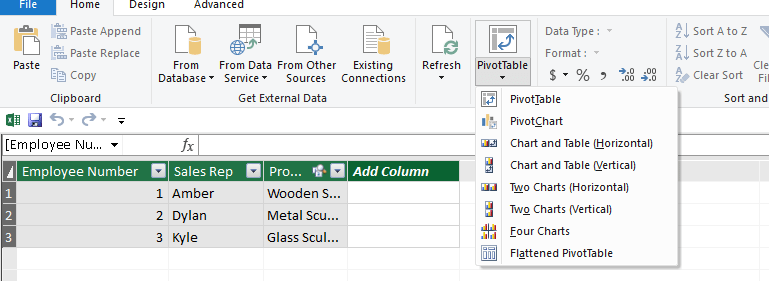 Inserting pivot tables from power pivot