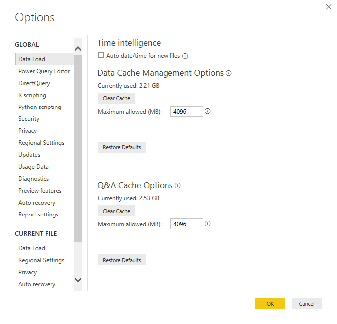 disable hidden date tables in power bi