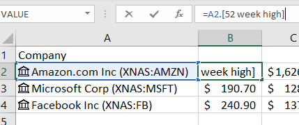 rich data types in Excel