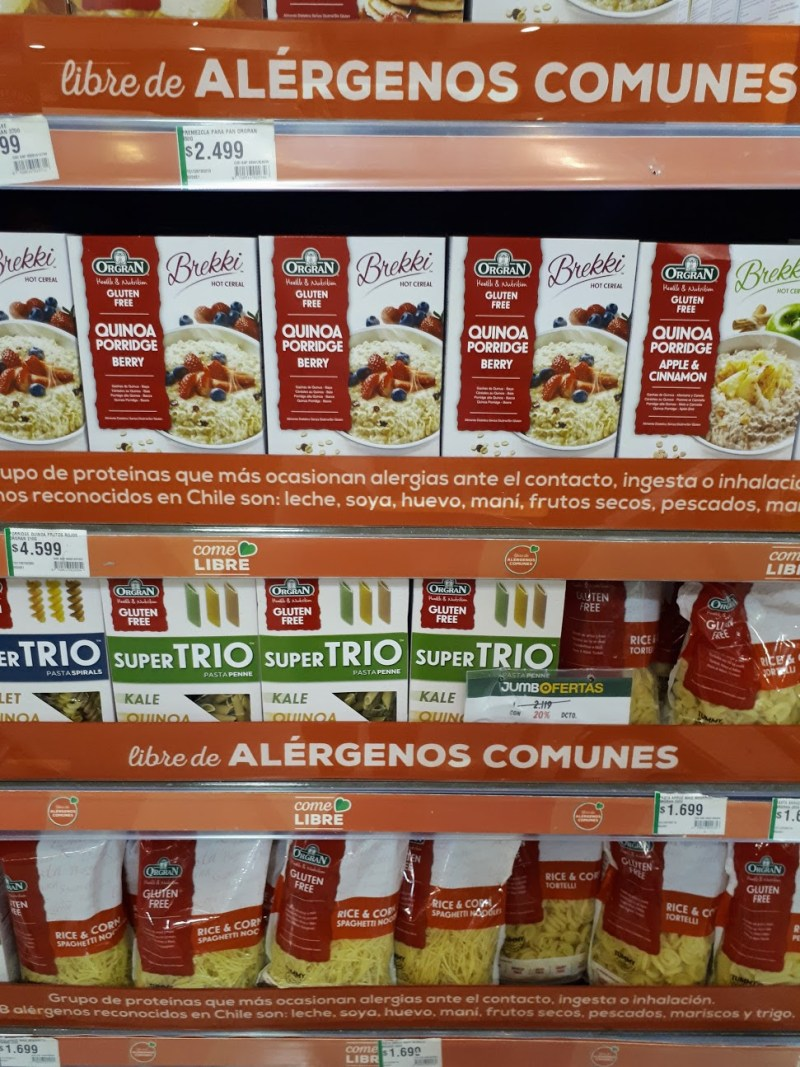 Grocery shopping allergy free food Santiago Chile