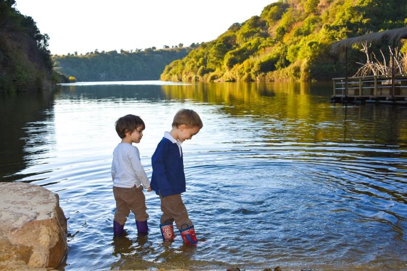 children paddling near Valparaiso
