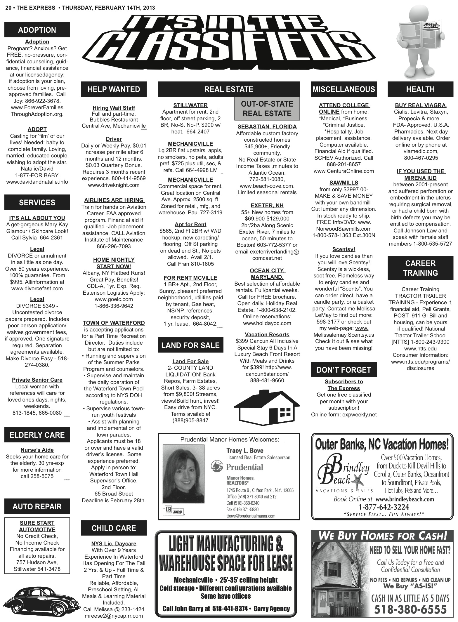 Classified Ads for February 14, 2013 | The Express Newspaper