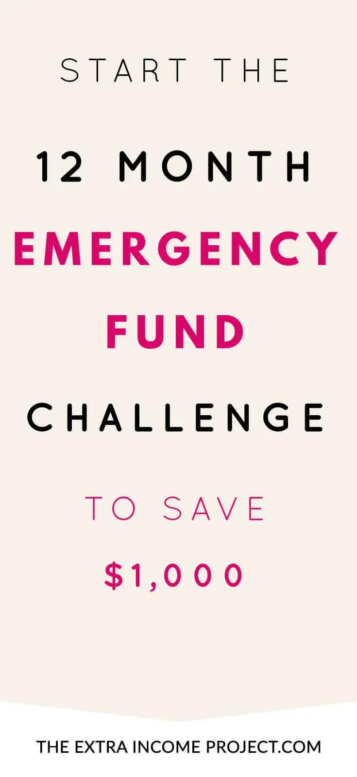 12 Month Emergency Fund Challenge