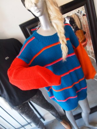 eof- suddenly seeking sweater girls - vintage inspiration- blue and orange striped graphic sweater