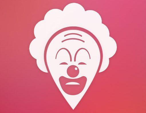 A scary clown's head looks scary.