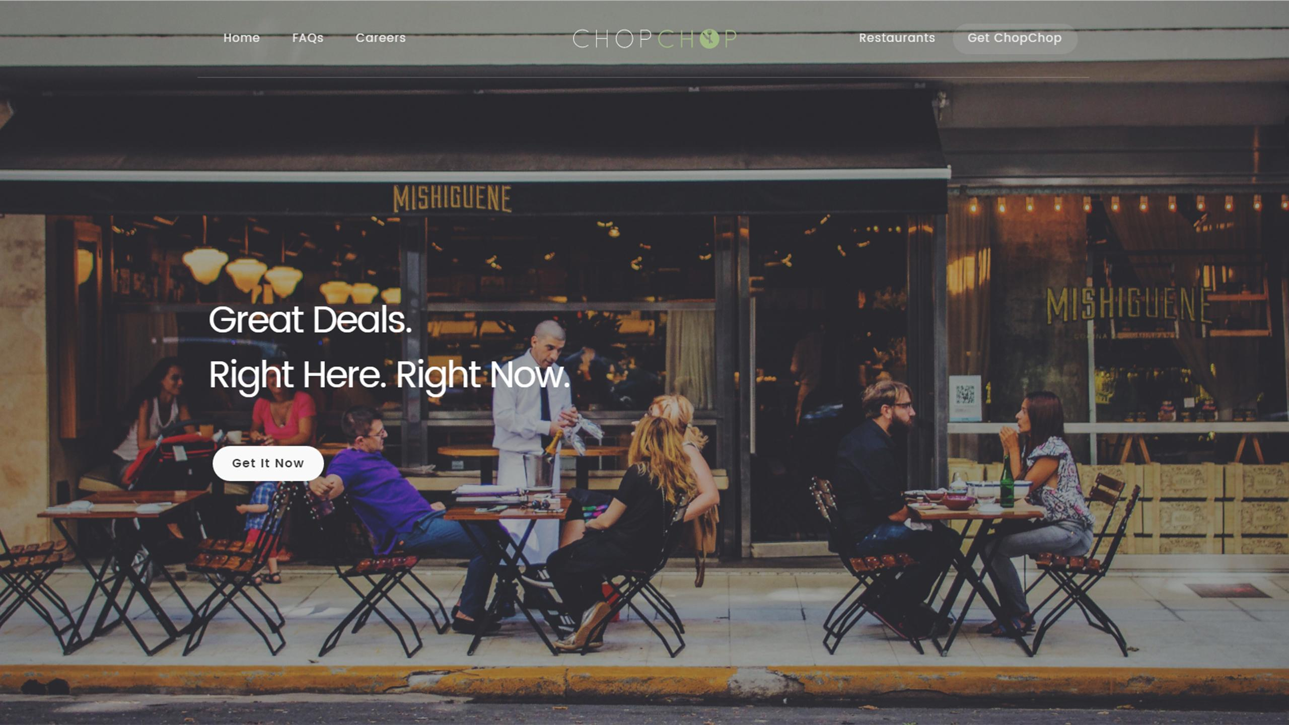 A screenshot of ChopChop's homepage shows several people sitting on a restaurant patio.