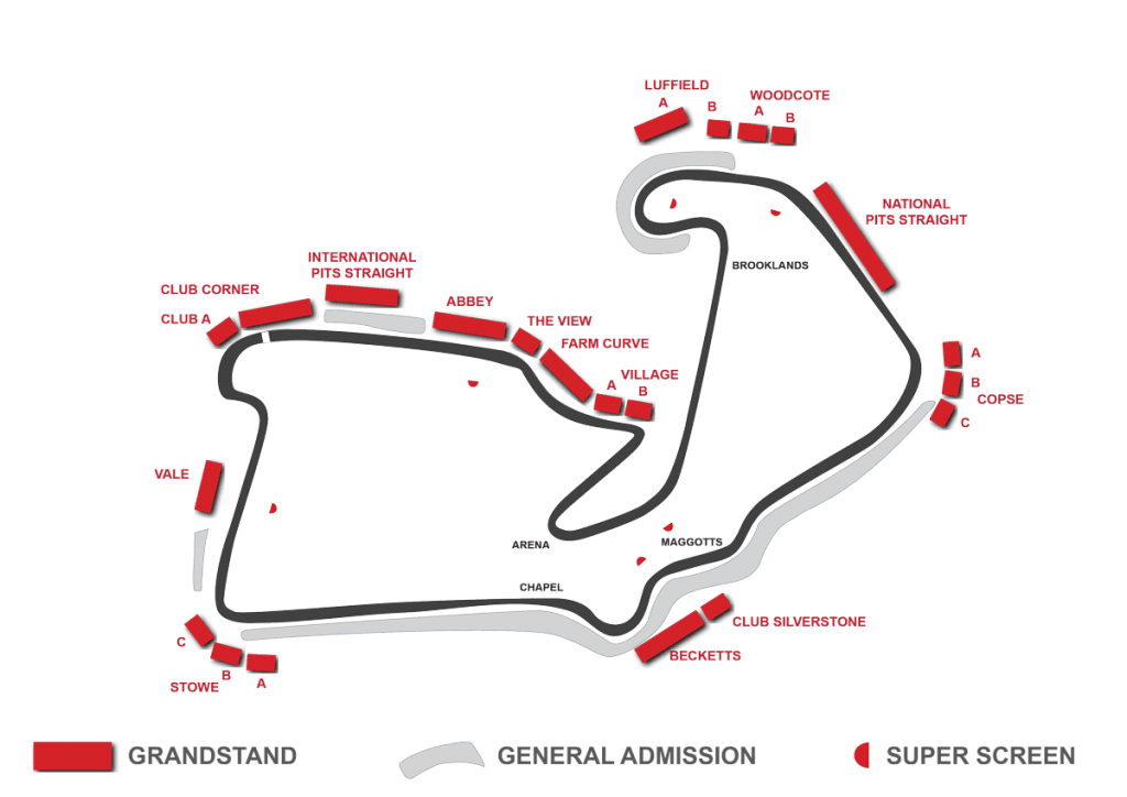 silverstone circuit grandstand map
