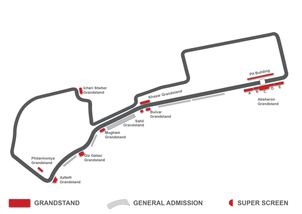 baku circuit grandstand map