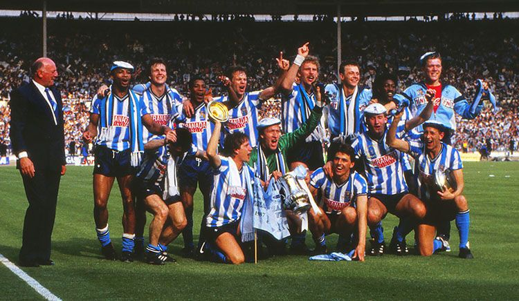 Coventry City celebrate their famous win over Spurs in 1987