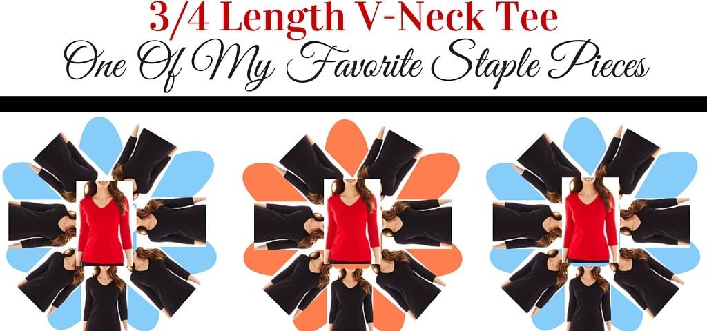 Three Quarter Length V-Neck Tee