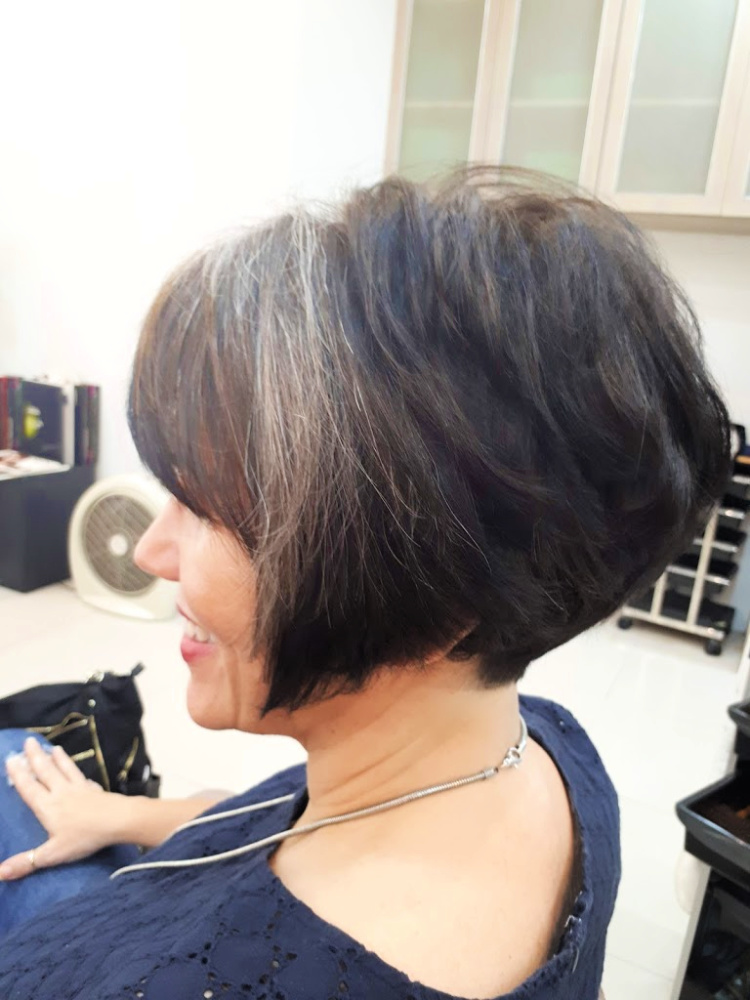 my short haircut, longer side