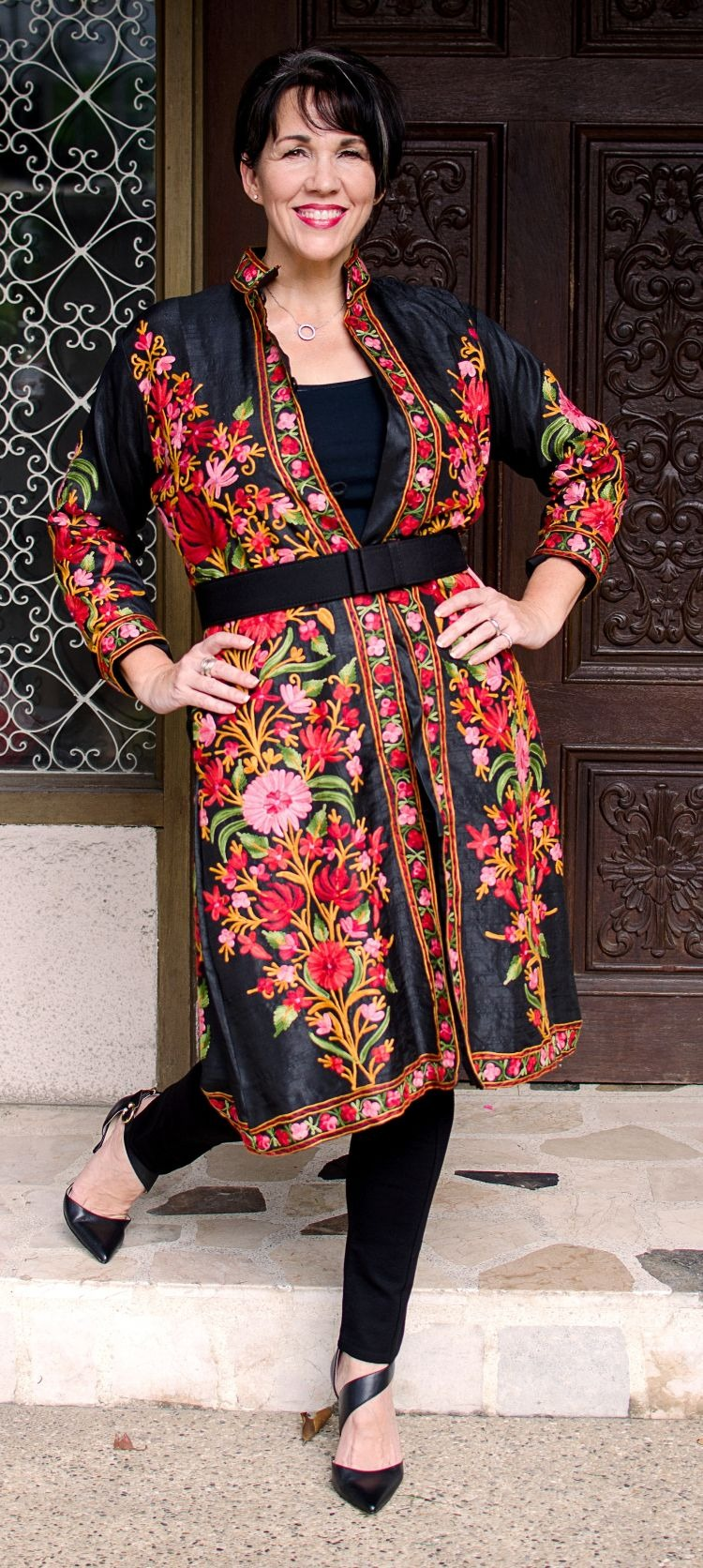 Bold Styling - Indian Appliqued Floral Coat