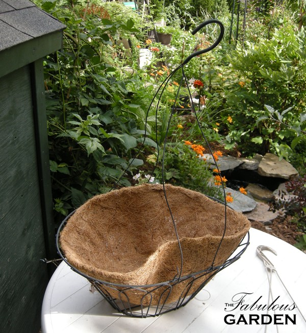 empty hanging basket with coco fibre liner