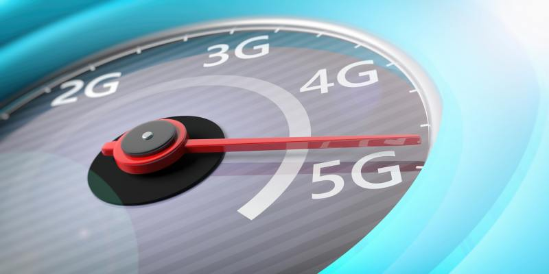 5G High speed network connection. Reaching 5g, speedometer closeup view. 3d illustration