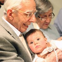 My grandfather Carles with the smaller granddaughter Aina. Barcelona