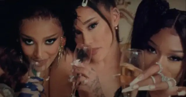 "Ariana Grande, Megan Thee Stallion, and Doja Cat's ""34+35 Remix"" video is here 1"