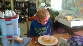 Birthday pancakes. He eats so much now!