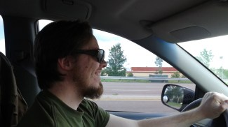 Levi had to borrow my sunglasses the other day. *snort giggle*