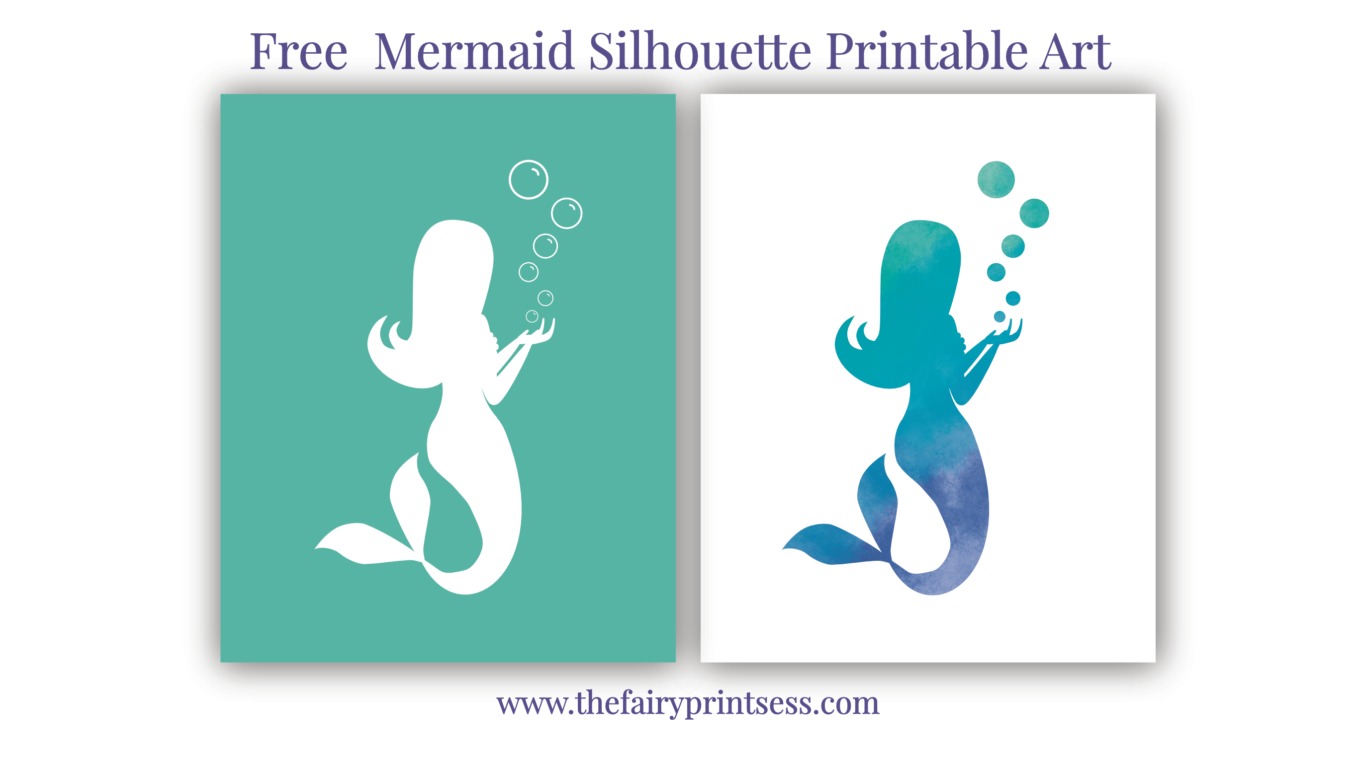photograph about Free Printable Silhouettes called Mermaid Silhouette Totally free Printable Artwork
