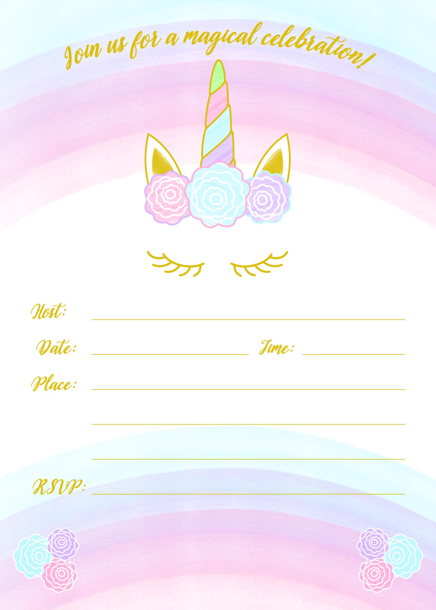 Unicorn 5x7 fill in invitation image