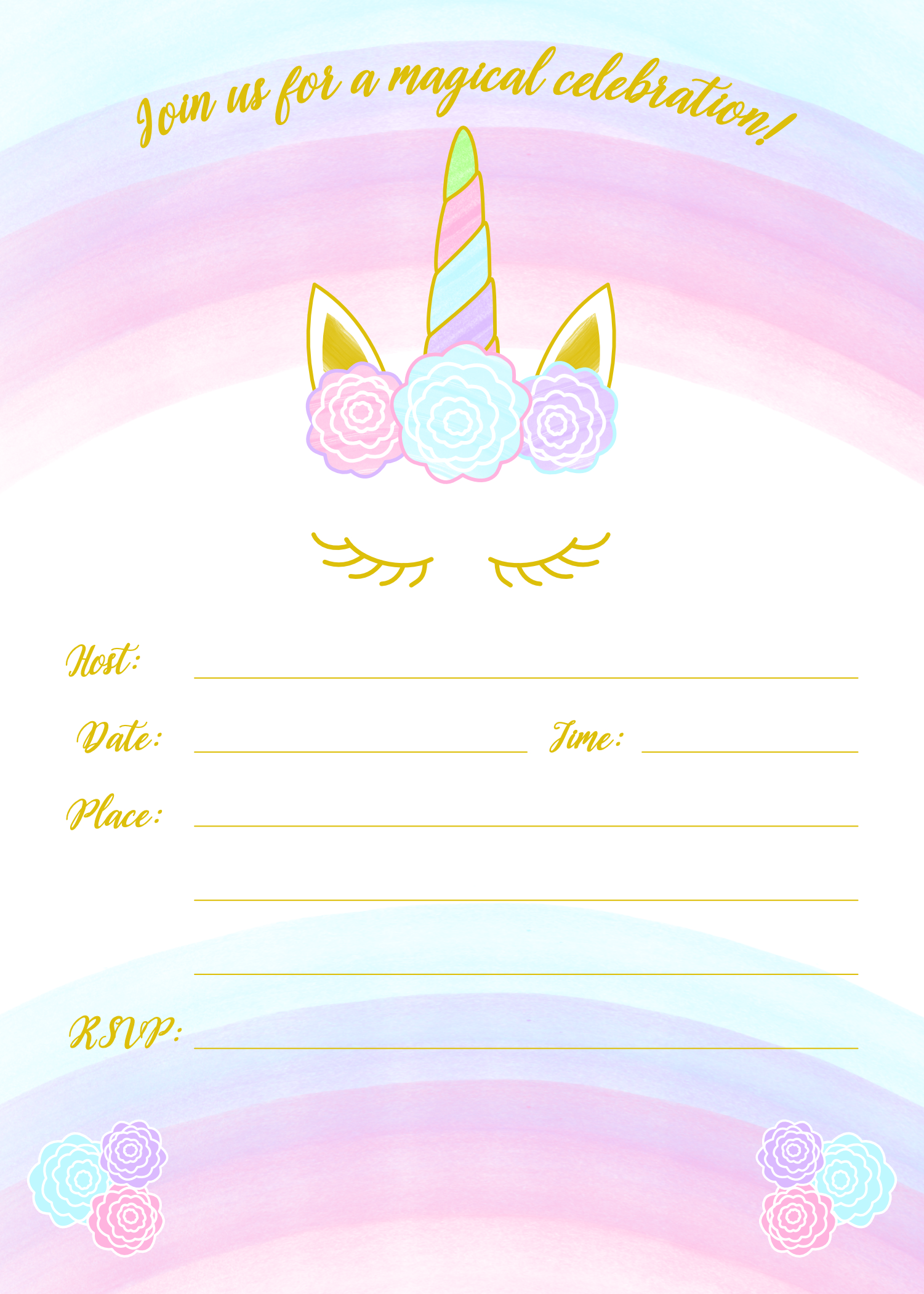 picture regarding Free Printable Unicorn Invitations named Unicorn Invitation Totally free Printable Templates - Very simple In the direction of Obtain!