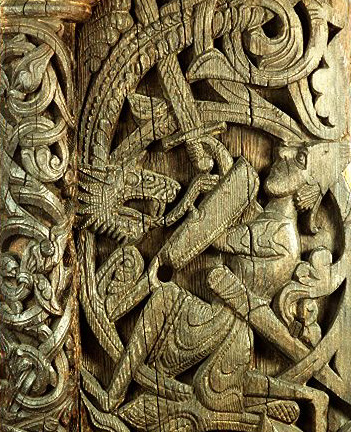 Norse period carving from Hylestad stave church from the 12th century. On display at the Museum of Cultural History in Oslo. Copyright All rights reserved by brianjmatis