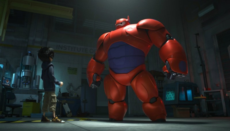 Baymax and Hiro standing in room in Big Hero 6