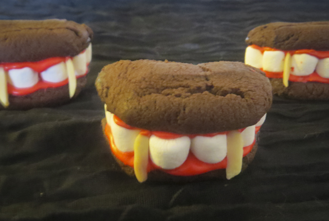 Dracula Denture Cookies for Halloween