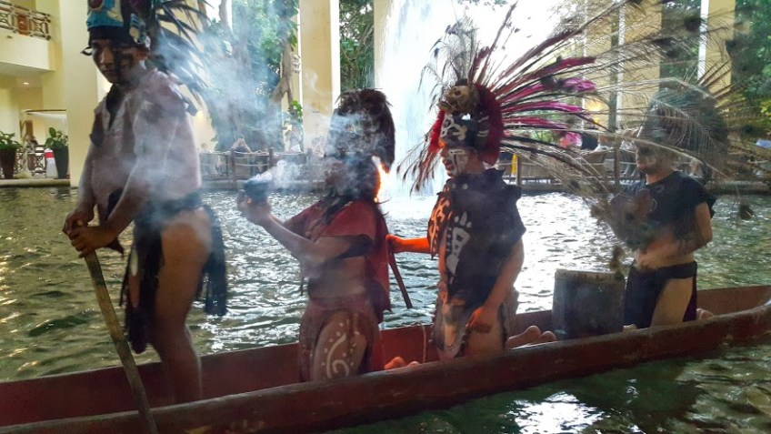 Mayan canoe show Occidental Grand Xcaret