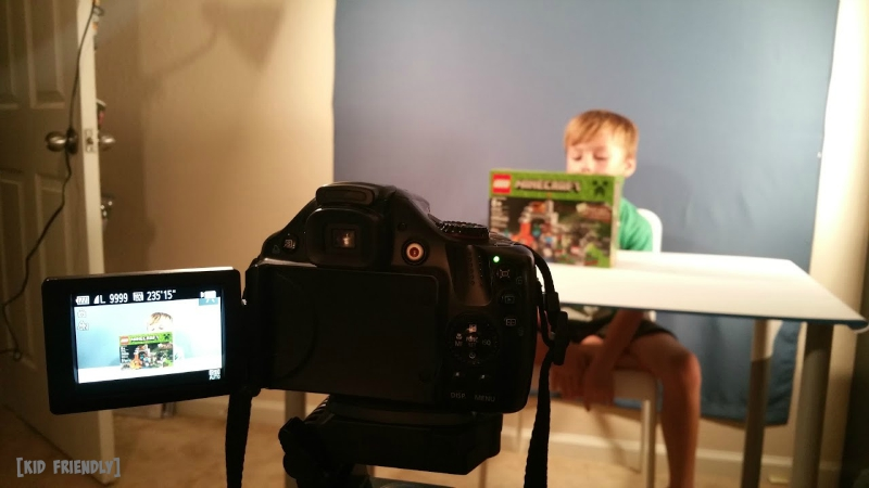 Kid Friendly in action on set for Minecraft unboxing
